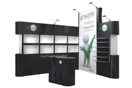 presentatiesystemen voor elke demonstratie, inrichten van uw beursstand, Beurswand hoek, opvallen met de mobiele presentatiekast ABC Display